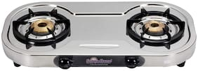 Surya Flame 2 Burner Regular Silver Gas Stove , ISI Certified