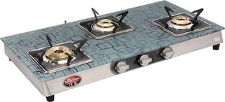 Surya Flame 3B ULTRA SS AUTO 3 Burner Automatic Regular Silver Gas Stove , ISI Certified