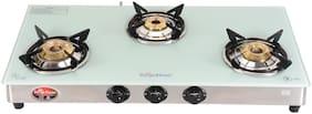 Surya Flame White Pearl 3 Burner Regular White Gas Stove ,