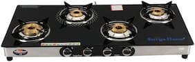 Surya Flame Emperor Black 4 Burner Regular Black Gas Stove , ISI Certified