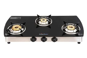 Surya Flame SF 3B CURVE SS NA 3 Burner Regular Silver & Black Gas Stove , ISI Certified