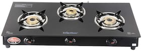 Surya Flame 3 Burner Regular Black Gas Stove , ISI Certified