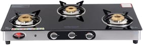 Surya Flame Excel Black 3 Burner Automatic Regular Black Gas Stove , ISI Certified