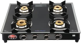 Surya Flame 4B Silverline Glasstop Gas Stove With Ms Body (4 Burner)
