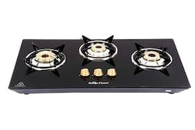Surya Flame 3B Elegence HOB-TOP Round Black Glass 3 Burner Automatic Hobs Black Gas Stove , ISI Certified