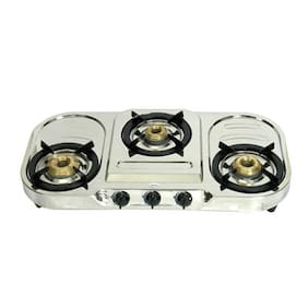 Surya Flame 3 Burners Stainless Steel Gas Stove - Silver