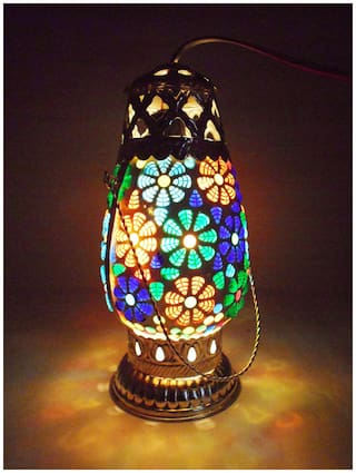 Susajjit Stylish Look Decorative Beautiful Glass Showpiece Night Lamp/Table Lamp