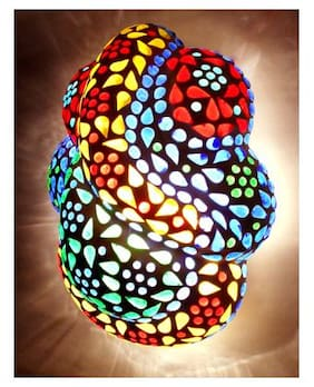 Susajjt Religious Decorative Wall Lamp of Ganesha Shape colorful Glass Lamp with Mosaic work best gift for Home