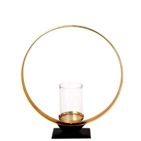 Anasa Golden Metal Glass Hurricane Candle Holder