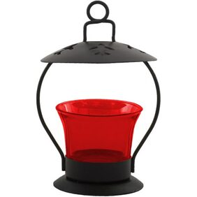 Anasa Metal Red Glass Votive Tealight Candle Holder