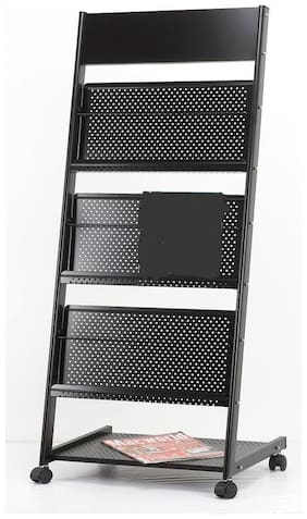 SVK Dream 3-Tray Magazine Rack or Newspaper Stand Curve Safe Catalog Stand, Magazine Stand,Portable Brochure Stand, Catalog Stand Black
