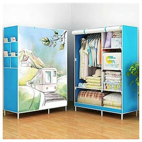 svk dream Folding Wardrobe Cupboard Almirah Foldable Storage Rack Collapsible Cabinet