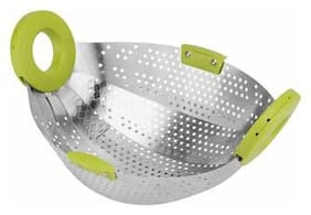 SWADEC Premium Collapsible Stainless Steel Kitchen Colander/Strainer/Fruit Washer/Vegetable Washer 1 piece in Random Colors.