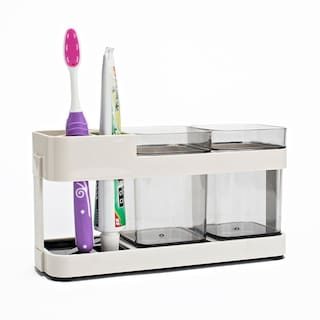 Swadec Toothbrush Toothpaste Stand Holder Bathroom Storage Organizer Plastic 2 Cups