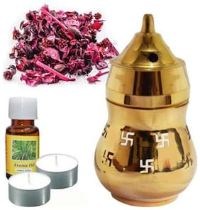 SWASTIKA DIFFUSER WITH 2 TEALIGHT CANDLE AND 1 FRAGRANCE OIL