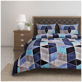 Swayam Cotton Geometric Double Size Bedsheet 144 TC ( 1 Bedsheet With 2 Pillow Covers , Multi )