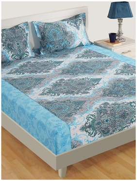 Swayam Cotton Paisley Double Size Bedsheet 160 TC ( 1 Bedsheet With 2 Pillow Covers , Blue )