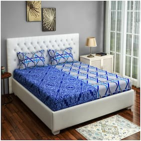 Swayam Cotton Geometric Double Size Bedsheet 160 TC ( 1 Bedsheet With 2 Pillow Covers , Blue )