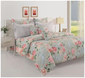 Swayam Cotton Floral Single Size Bedsheet 160 TC ( 1 Bedsheet With 1 Pillow Covers , Grey )