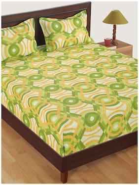 Swayam Cotton Abstract Single Size Bedsheet 160 TC ( 1 Bedsheet With 1 Pillow Covers , Green )
