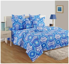 Swayam Cotton Abstract Single Size Bedsheet 160 TC ( 1 Bedsheet With 1 Pillow Covers , Blue )