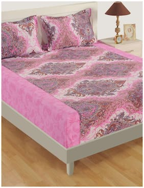 Swayam Cotton Paisley Double Size Bedsheet 160 TC ( 1 Bedsheet With 2 Pillow Covers , White )