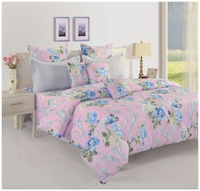Swayam Cotton Floral Double Size Bedsheet 160 TC ( 1 Bedsheet With 2 Pillow Covers , Purple )