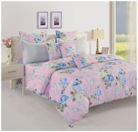 Swayam 160 TC Floral Flat Double Bedsheet ( Purple , Pack of 3 )