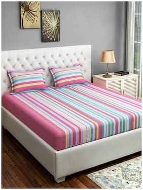 Swayam Cotton Striped Queen Size Bedsheet 180 TC ( 1 Bedsheet With 2 Pillow Covers , Pink )