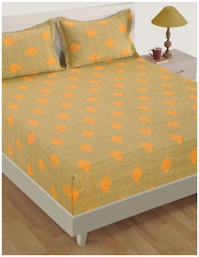 Swayam Cotton Paisley Double Size Bedsheet 180 TC ( 1 Bedsheet With 2 Pillow Covers , Yellow )