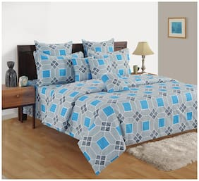 Swayam Cotton Geometric Double Size Bedsheet 180 TC ( 1 Bedsheet With 2 Pillow Covers , Red )