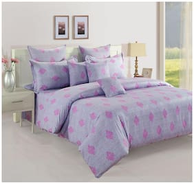 Swayam Cotton Paisley Double Size Bedsheet 180 TC ( 1 Bedsheet With 2 Pillow Covers , Purple )