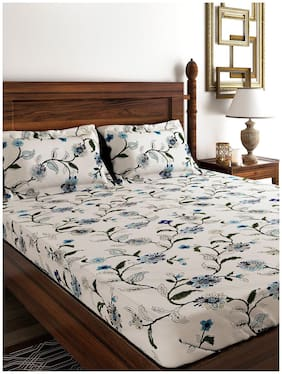 Swayam Cotton Floral Double Bedsheet ( 1 Bedsheet With 2 Pillow Covers , White )
