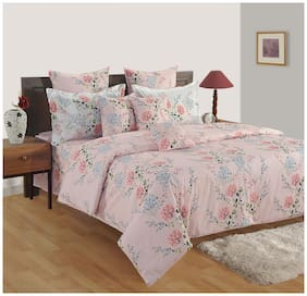 Swayam Cotton Floral Single Size Bedsheet 180 TC ( 1 Bedsheet With 1 Pillow Covers , Grey )