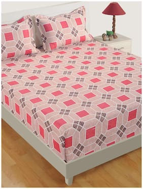 Swayam Cotton Geometric Double Size Bedsheet 180 TC ( 1 Bedsheet With 2 Pillow Covers , Maroon )