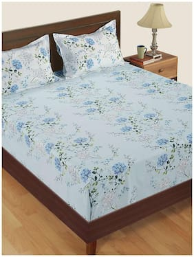 Swayam Cotton Floral Single Size Bedsheet 180 TC ( 1 Bedsheet With 1 Pillow Covers , Blue )