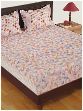 Swayam Cotton Geometric Double Size Bedsheet 180 TC ( 1 Bedsheet With 2 Pillow Covers , Multi )
