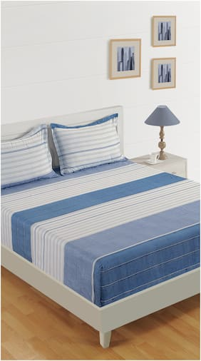 Swayam Cotton Striped Double Size Bedsheet 200 TC ( 1 Bedsheet With 2 Pillow Covers , Blue )