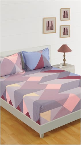 Swayam Cotton Geometric Double Size Bedsheet 200 TC ( 1 Bedsheet With 2 Pillow Covers , Multi )