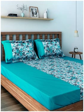 Swayam Cotton Floral Single Size Bedsheet 200 TC ( 1 Bedsheet With 1 Pillow Covers , Blue )