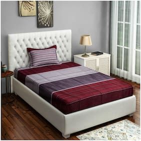 Swayam 200 TC Striped Flat Single Bedsheet ( Grey & Maroon , Pack of 2 )