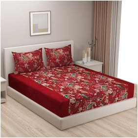Swayam Cotton Floral Single Size Bedsheet 200 TC ( 1 Bedsheet With 1 Pillow Covers , Red )