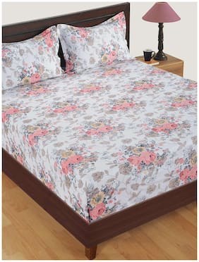 Swayam Satin Floral Double Size Bedsheet 250 TC ( 1 Bedsheet With 2 Pillow Covers , Off-white )