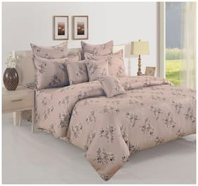 Swayam Cotton Floral Double Size Bedsheet 250 TC ( 1 Bedsheet With 2 Pillow Covers , Maroon )