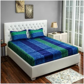 Swayam 250 TC Abstract Flat Double Bedsheet ( Blue , Pack of 3 )