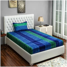 Swayam 250 TC Motif Print Cotton Single Bed Sheet with 1 Pillow Cover