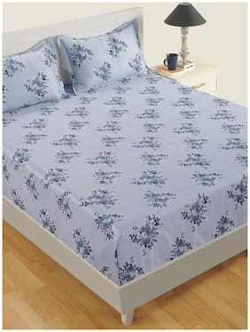 Swayam Cotton Floral Single Size Bedsheet 250 TC ( 1 Bedsheet With 1 Pillow Covers , Blue )