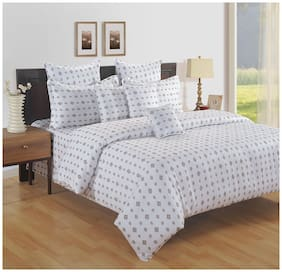 Swayam Cotton Paisley Single Size Bedsheet 250 TC ( 1 Bedsheet With 1 Pillow Covers , White )
