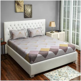 Swayam Cotton Geometric Double Size Bedsheet 250 TC ( 1 Bedsheet With 2 Pillow Covers , White )