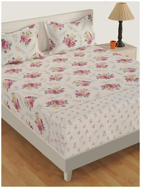 Swayam Satin Floral King Size Bedsheet 250 TC ( 1 Bedsheet With 2 Pillow Covers , White )